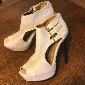Open toe buckle booties 8.5